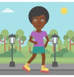Sporty woman on roller-skates vector image