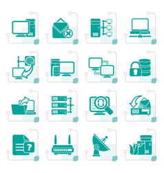 Stylized computer network and internet icons vector