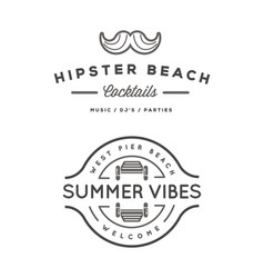 summer holidays design elements set retro and vector image