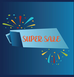 super sale isolated on blue background realistic vector image