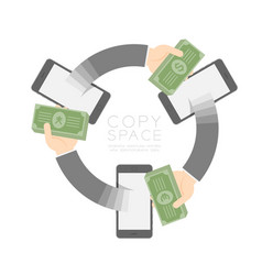 three smartphone with pop up hand holding cash vector image