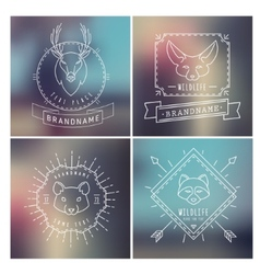 Trendy Retro Vintage Insignias Bundle Animals vector image