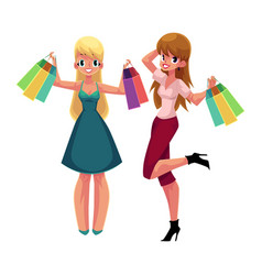 two happy women girls friends with shopping bags vector image