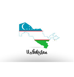 Uzbekistan country flag inside map contour design vector