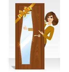 Woman behind the door vector