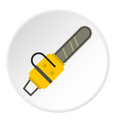 Yellow chainsaw icon circle vector