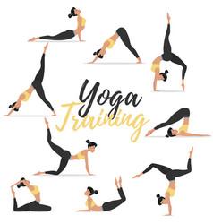 Yoga asanas set isolated on white background vector