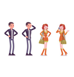 young man and woman standing vector image