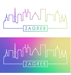 Zagreb skyline colorful linear style editable vector