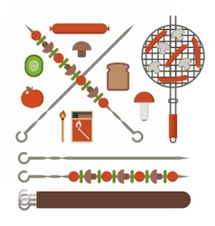 Barbecue Skewer Grill and Vegetables vector image vector image