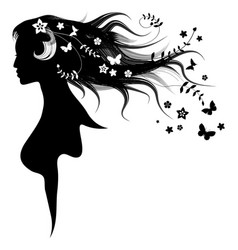 beautiful girl with dispelled hair and vector image vector image