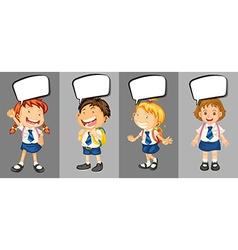 Children in school uniform with speech bubbles vector image vector image