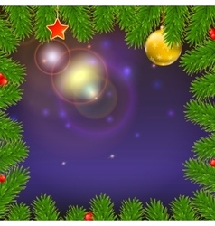 Christmas background with of glowing rays fir vector image vector image