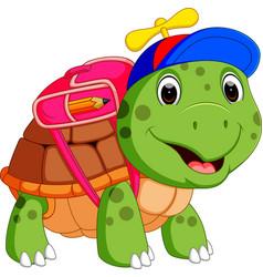 cute turtle go to school vector image