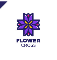 isolated abstract colorful cross logo vector image