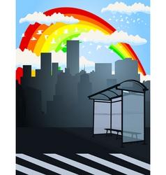 rainbow over a city2 vector image