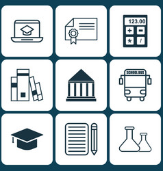 set of 9 school icons includes home work vector image vector image