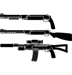 shotgun gun and rifle stencil vector image
