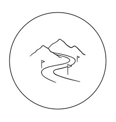 ski track icon in outline style isolated on white vector image vector image