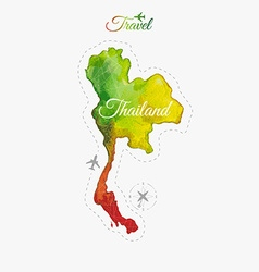 Travel around the world Thailand Watercolor map vector image