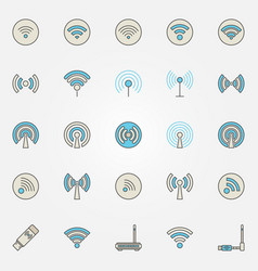 wireless network and wi-fi icons vector image