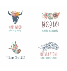 Bohemian ethnic icons with feathers wreath vector image vector image