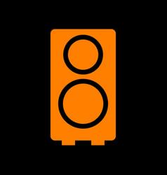 speaker sign orange icon on black vector image