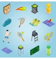 Tennis set icons isometric 3d style vector image vector image