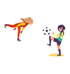 two teenage girls - ice skating playing football vector image vector image