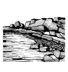 cliffs beach rocks on the coast vector image vector image