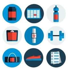 Flat icons set of fitness sport vector image vector image