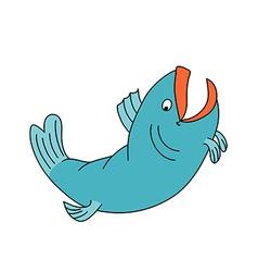 Happy fish jumping and smiling Cartoon character vector image