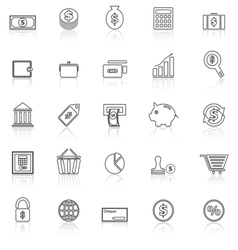 Money line icons with reflect on white vector image vector image