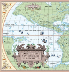 old map of South and North America vector image vector image