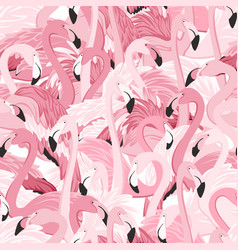 pink flamingo birds flamboyance seamless pattern vector image vector image