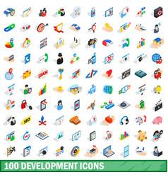 100 development icons set isometric 3d style vector image