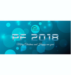 bokeh 2018 happy new year card in blue color vector image