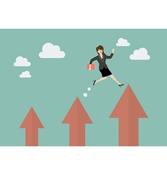 Business woman jumping up to a higher arrow vector