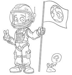 cartoon astronaut in space suit character vector image