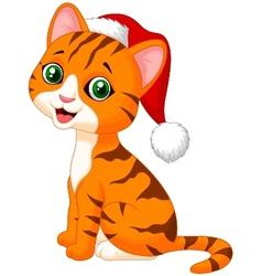 Cute cat cartoon wearing red hat vector