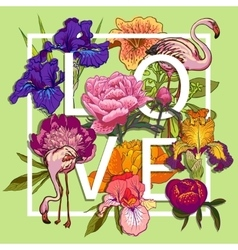 Floral and birds flamingos Love Graphic Design vector image