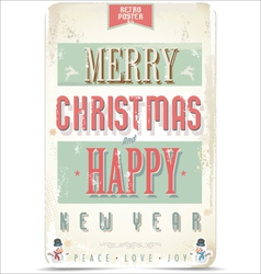 Happy New Year and Merry Christmas card vector image