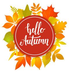 Hello autumn round frame vector