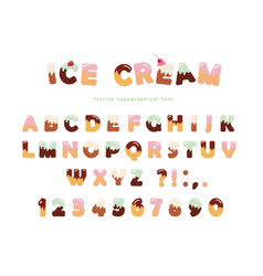ice cream font cute wafer letters and numbers can vector image vector image