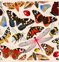 insects seamless pattern vector image