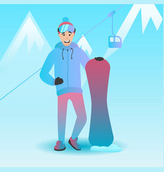 male snowboard character vector image vector image