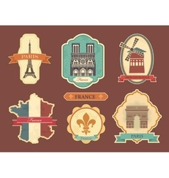 Stickers with symbols of France vector image vector image