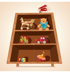 Toys on shelves print vector image