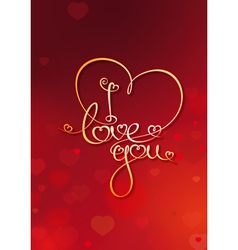 Valentines Card I Love You Red vector image vector image