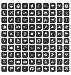 100 umbrella icons set black vector